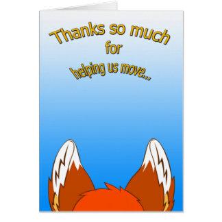 Tackkort (att flytta sig) hälsningskort