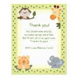 Tackkort för baby shower för djungelSafaridjur