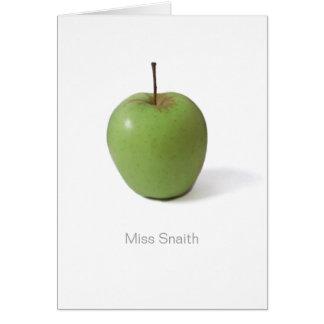 Tackkort för lärare - gröna Apple Hälsningskort