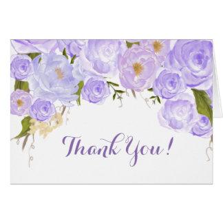 Tackkort för lavendelroblommigt hälsningskort