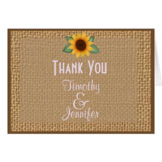 Tackkort för personligBurlapsolros Hälsningskort