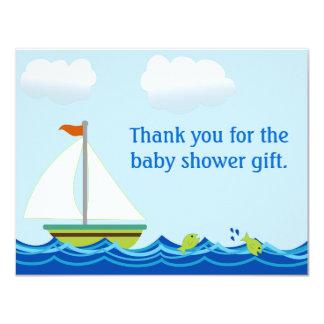 Tackkort för segelbåtbaby showerlägenhet 10,8 x 14 cm inbjudningskort