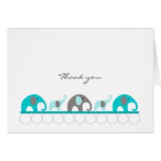 Tackkort för turkosblått- & gråttbaby shower OBS kort