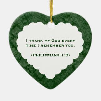 Tacksam gåva för hjärtapersonliggrönt julgransprydnad keramik