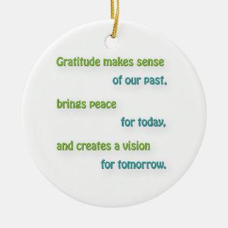 Tacksamt citationstecken - tacksamhet gör julgransprydnad keramik