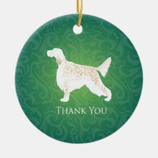 TackSilhouette för engelsk Setter Julgransprydnad Keramik