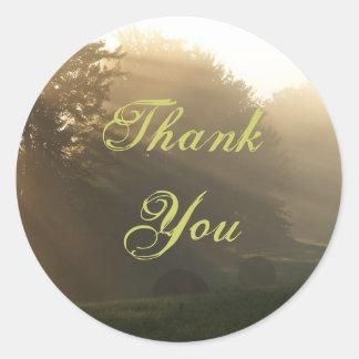 Tacksolstrålar Runda Klistermärken