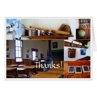 Tackvintage skolar husCollagekortet Hälsningskort