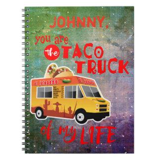 Tacolastbil av min livTie-färg bakgrund Anteckningsbok