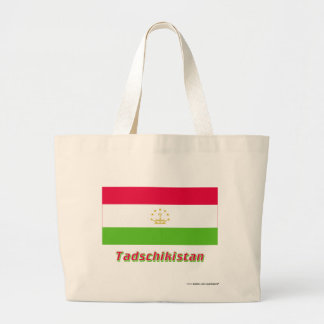 Tadschikistan Flagge mit Namen Tote Bags