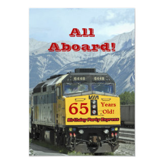 tåg för 65efödelsedagsfest inbjudanjärnväg 12,7 x 17,8 cm inbjudningskort