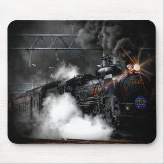 Tåg för svart för vintageångamotor rörligt musmattor