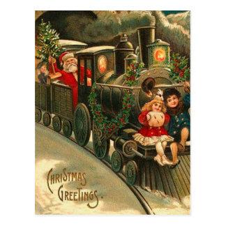Tåg för vintagejultomtenjul vykort