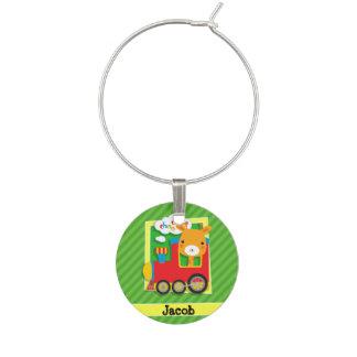 Tåg med giraffet på gröna randar berlock vinglas