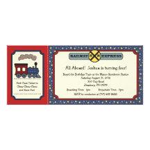 Tågbiljettinbjudan - lantligt rött & blått personliga inbjudan
