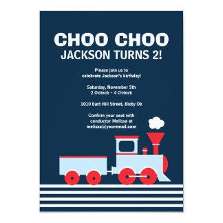 Tåginbjudan - födelsedaginbjudan för pojkar 12,7 x 17,8 cm inbjudningskort