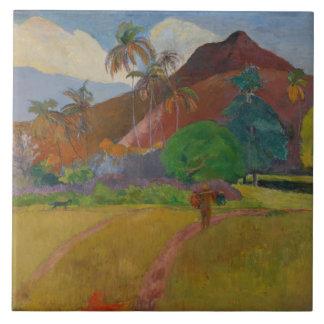 Tahitian landskap, 1891 (olja på kanfas) kakelplatta