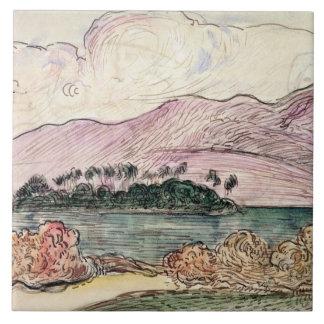 Tahitian landskap (w/c på papper) kakelplatta