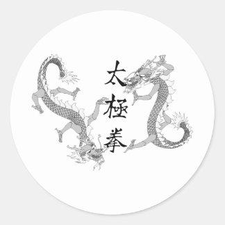 Tai-Chi Chuan och två drakar Runt Klistermärke