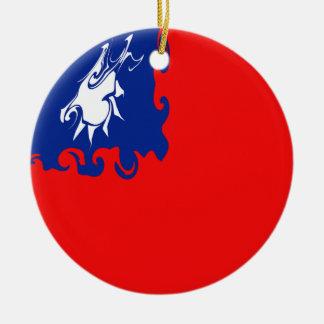 Taiwan Gnarly flagga Rund Julgransprydnad I Keramik