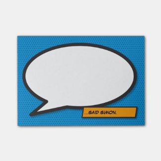 Tal för humorbokpopkonst bubblar post-it block