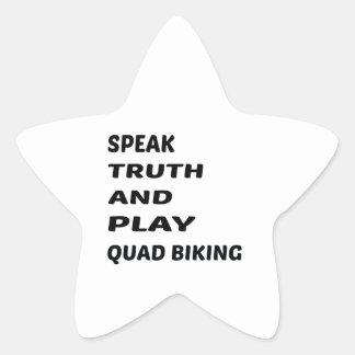Tala sanning och leka Biking. för kvadrat Stjärnformat Klistermärke
