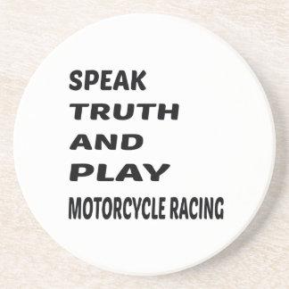 Tala sanning och leka Racing. för motorcykel Underlägg Sandsten