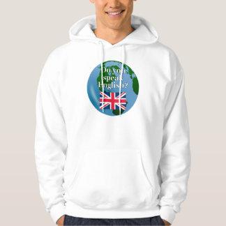 """""""Talar du engelska? """"på engelskt. Flagga & Sweatshirt Med Luva"""