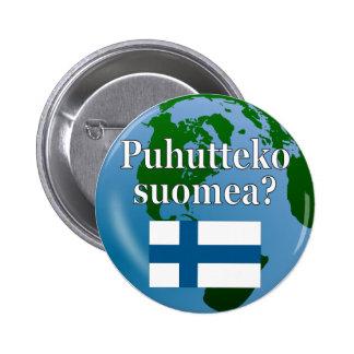 Talar du finska? i finska. Flagga & jordklot Knapp Med Nål