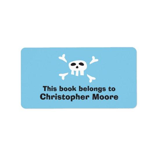 Tallrikar för bok för bokägarmärke för blått för adressetikett