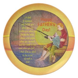 Tallrikar för mall för far- & sonfiskefars dag