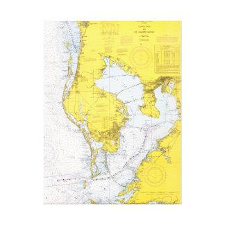 Tampa Bay nautiska Florida kartlägger Canvastryck