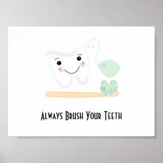 Tand- ordstäv med tanden och tandborsten poster