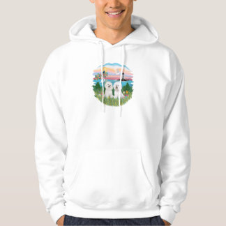 Tända hus - två Bichon Frise Sweatshirt Med Luva