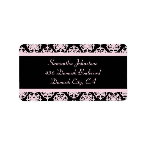 Tända - rosa damast på svart adressetikett