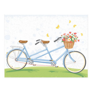 Tandem cykel för vintage med blommabasketen vykort