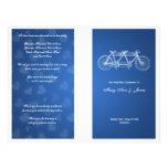 Tandema cykelblått för enkel bröllopsprogram flygblad