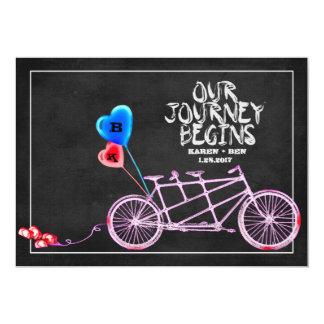 Tandemt cykelbröllop för svart tavla 12,7 x 17,8 cm inbjudningskort