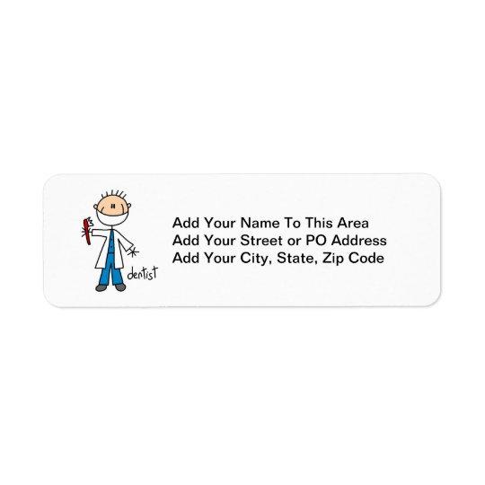 Tandläkarestick figur returadress etikett