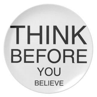 Tänka, för du tror tallrik