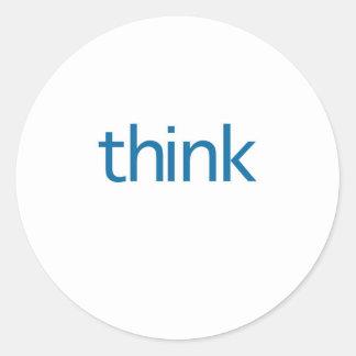 tänka (tänkta blått) runt klistermärke