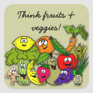 tänkafrukt veggies för n fyrkantigt klistermärke