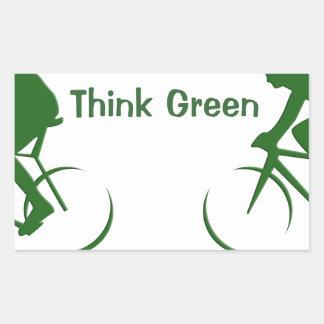 Tänkagrönt Rektangulärt Klistermärke