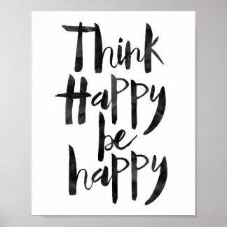Tänkalycklig är lycklig poster