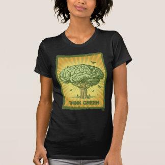 Tänkan görar grön hjärnträd tee shirt