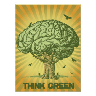 Tänkan görar grön hjärnträdaffischen poster