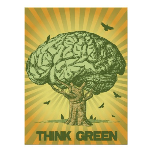 Tänkan görar grön hjärnträdaffischen posters