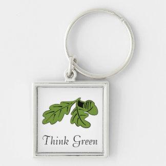 Tänkan görar grön Keychain Fyrkantig Silverfärgad Nyckelring
