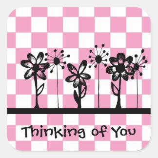 Tänkande av dig fyrkantigt klistermärke