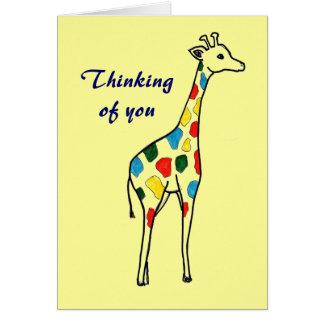 Tänkande av dig giraffkort hälsningskort